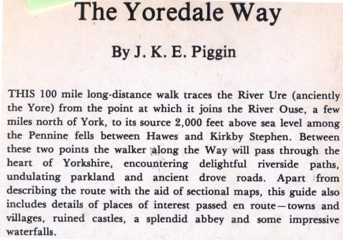 The Yoredale Way, a guide by J K E Piggin available through Amazon