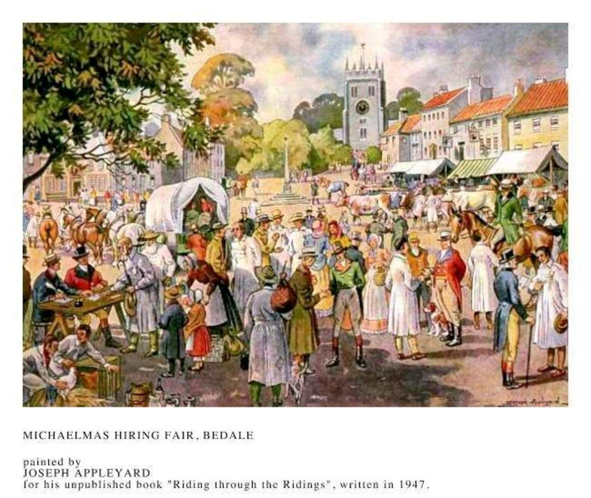 Bedale Michaelmas Hiring Fair by Joseph Appleyard (early 19th Century) - these hiring fairs occurred regularly with the ebb and flow of the seasons