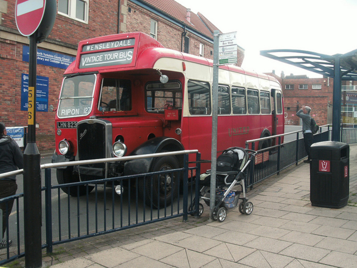 Another of the Wensleydale vintage buses - this is a former United Automobile Services' Bristol L5G at Ripon bus station. Leyburn Station is one of their stopping points