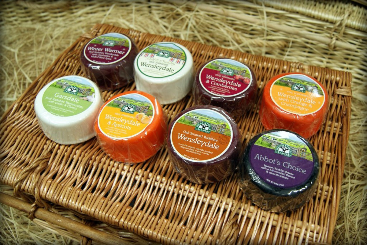 A hamper of Wensleydale cheese 'truckles'