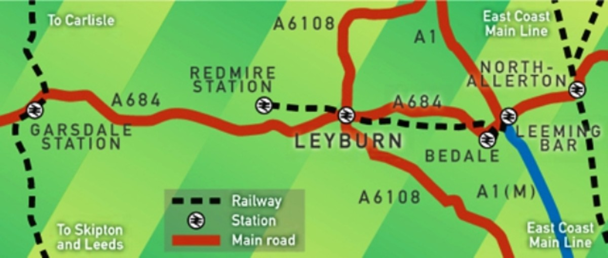 The dotted line represents the route of the Wensleydale Railway between Leeming Bar and Redmire. The plans are to extend permanently east to Northallerton and west to Aysgarth(2.5 miles further)