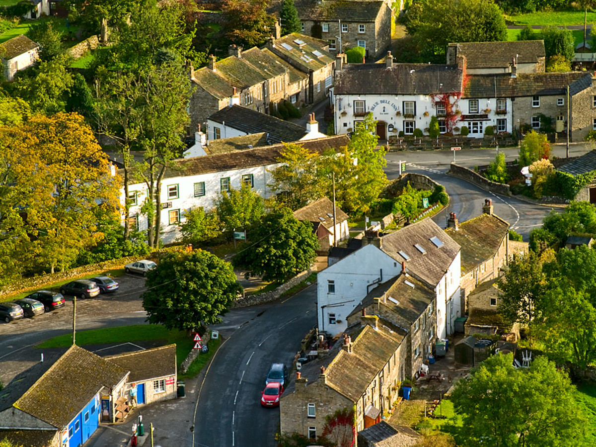 Overhead view of Kettlewell, astride the crossroads between Grassington and Hawes or West Burton.