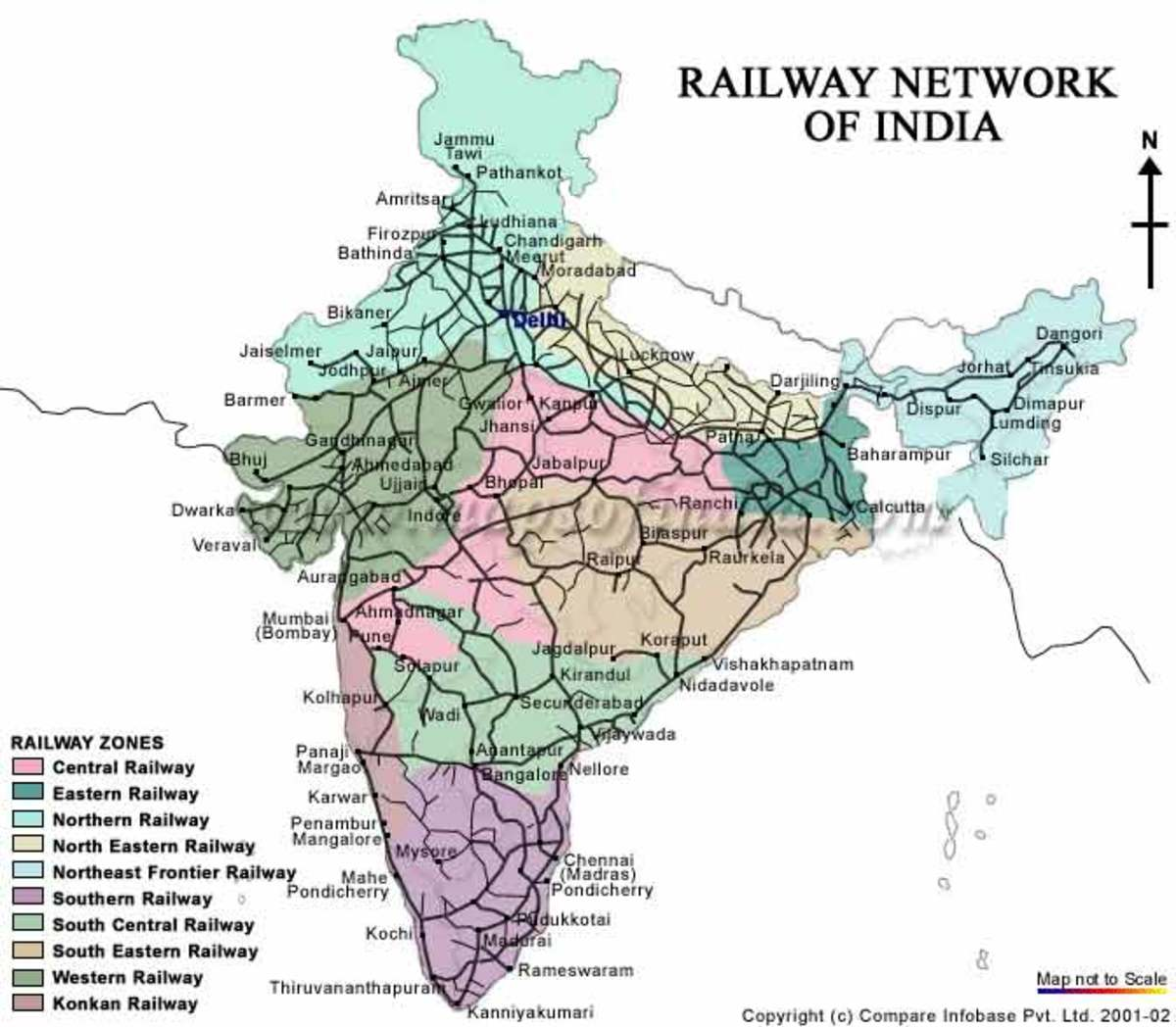 Indian Railway Map Of India.How To Travel From India To Nepal By Bus And Train Hubpages
