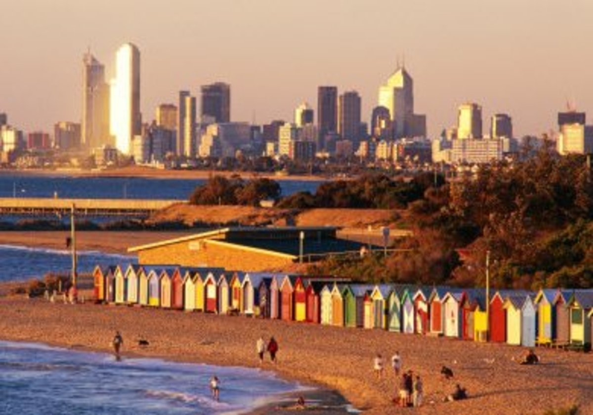 An aerial view of Brightton Beach. You can see the Melbourne CBD skyline in the background.