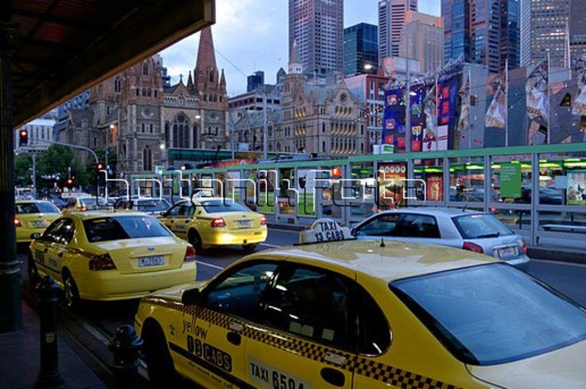 The taxi rank just outside Flinder Street Station, Melbourne.