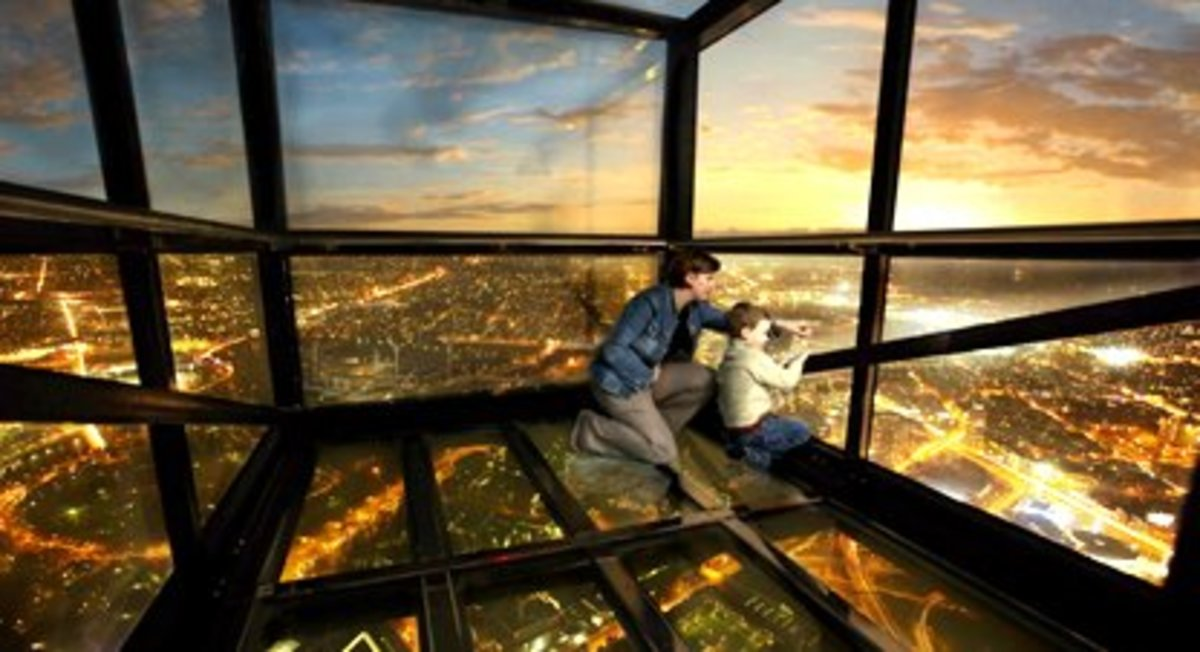 Breathtaking views of Melbourne City from 'The Edge' at Eureka Skydeck, Melbourne