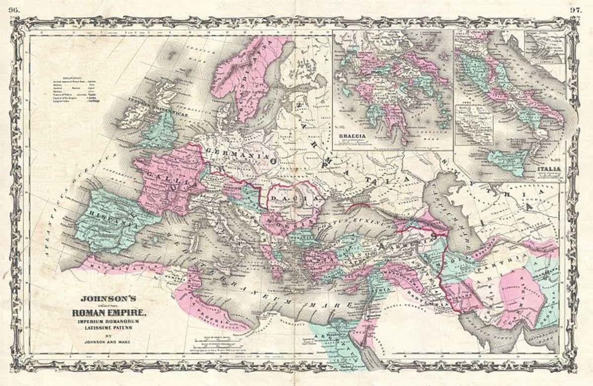 Johnson's Roman Empire, Imperius Romanorum Latissime Patens (Public Domain Image PD-OLD)