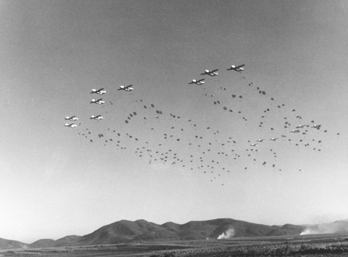 The 187th airborne making a combat jump in Korea