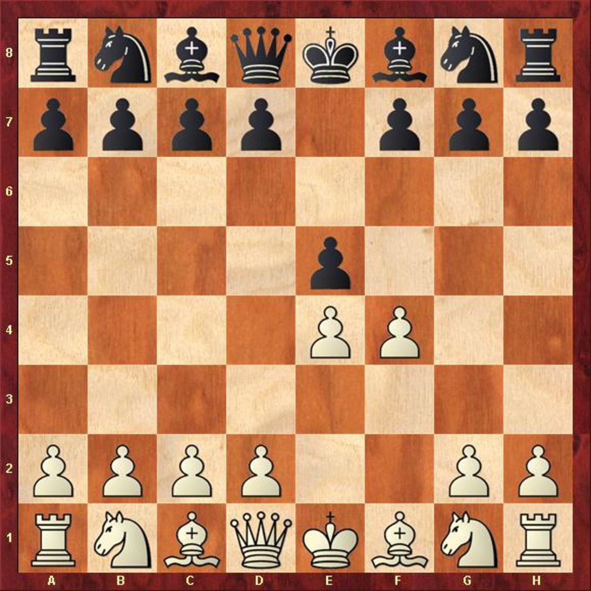 Starting Position of the King's Gambit.