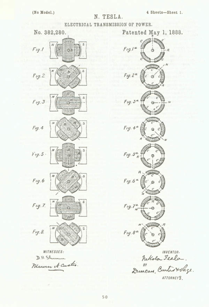 Tesla's Rotating Magnetic Field Patent - Granted in 1888