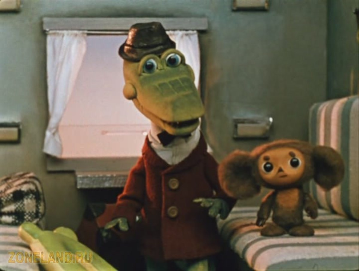 Cheburashka and Gena on the train