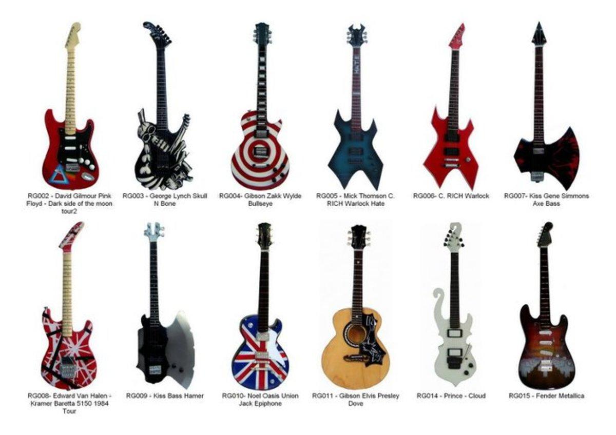 Many models of miniature guitar