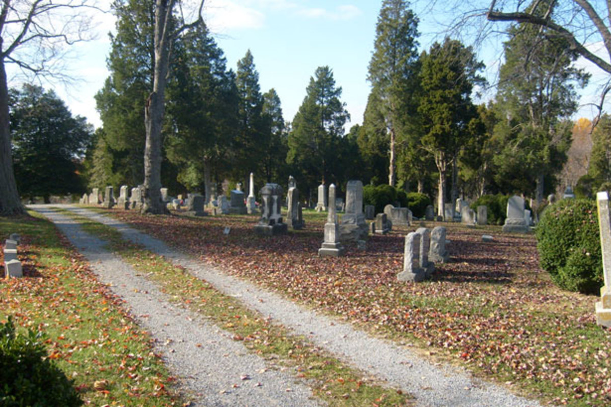 The Pioneer Cemetery makes the cemetery shown in this picture look rather cozy.
