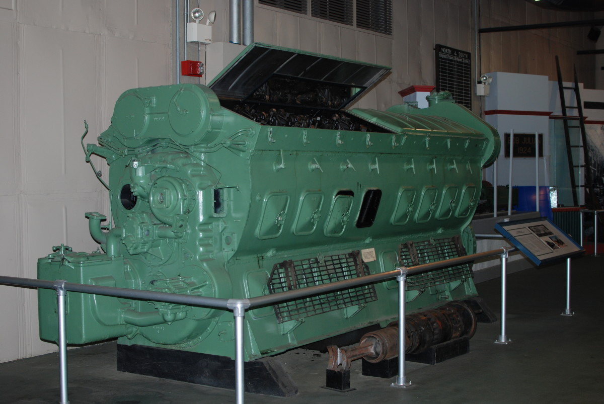 A 16 cylinder EMD 567 diesel engine. Used in F series locomotives, GPs and more. Even submarines and ships during WWII.