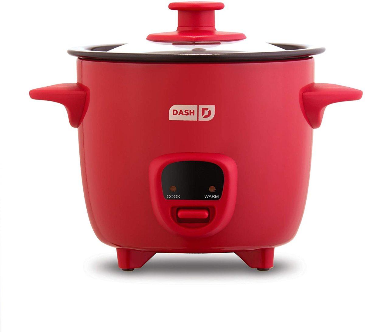 The Dash DRCM200GBRD04 Mini Rice Cooker Steamer.