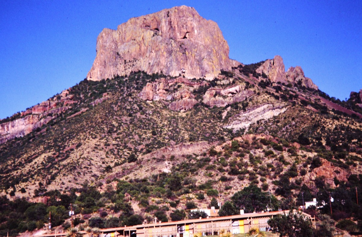 View of our lodging in the Chisos Mountains of Big Bend National Park with Casa Grande looming overhead.