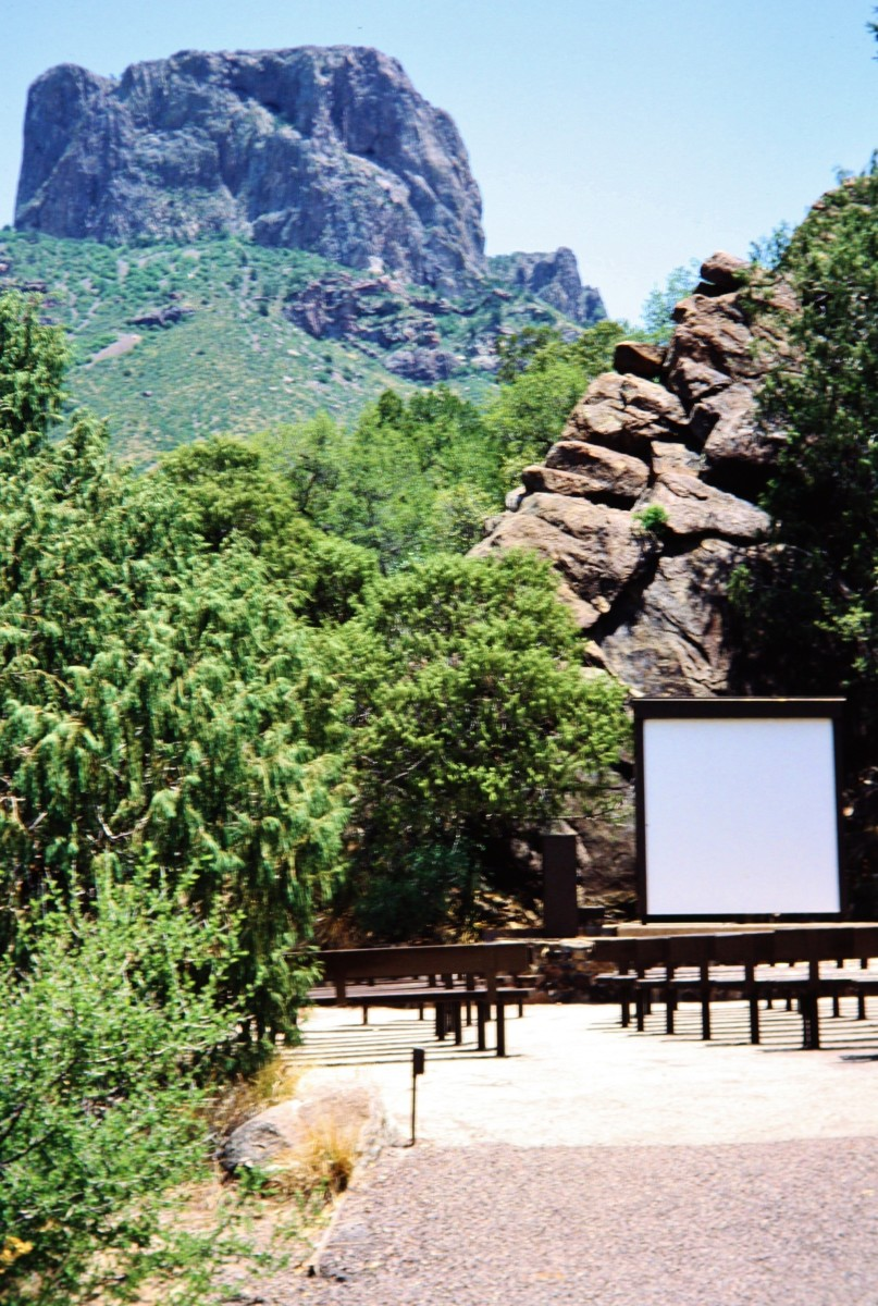 One can watch movies presented by Park Rangers here in the Basin of the Chisos Mountains.