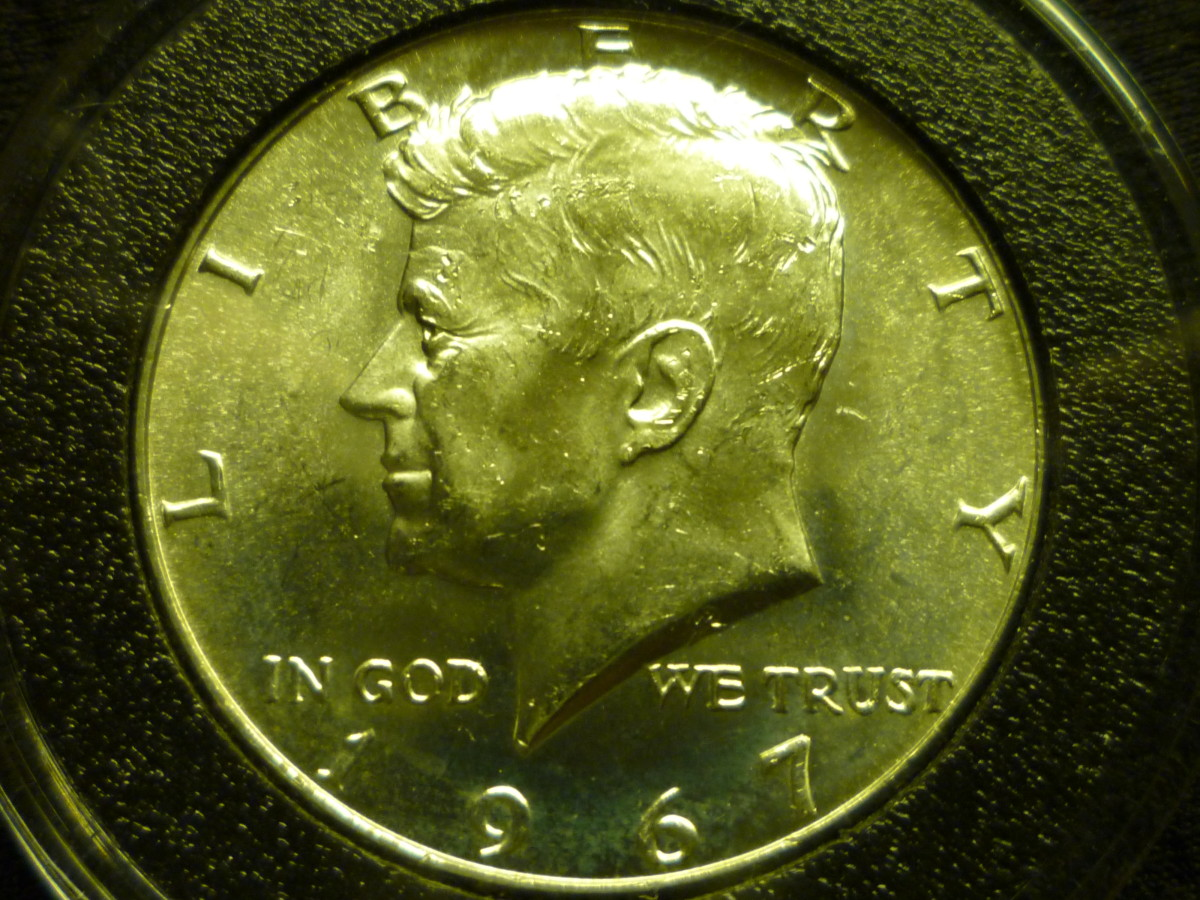 Value of Kennedy Half Dollars. Shown above is 40% Silver 1967 Kennedy Half Dollar.
