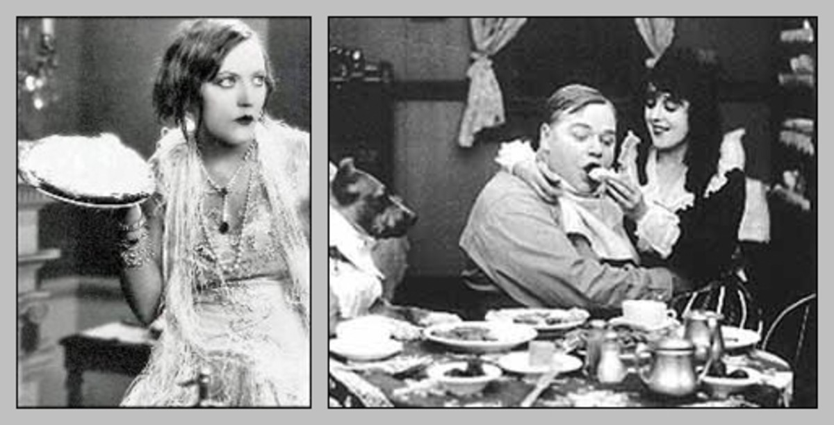 "Mabel Normand and Fatty Arbuckle in ""A Noise from the Deep"" (1913)"