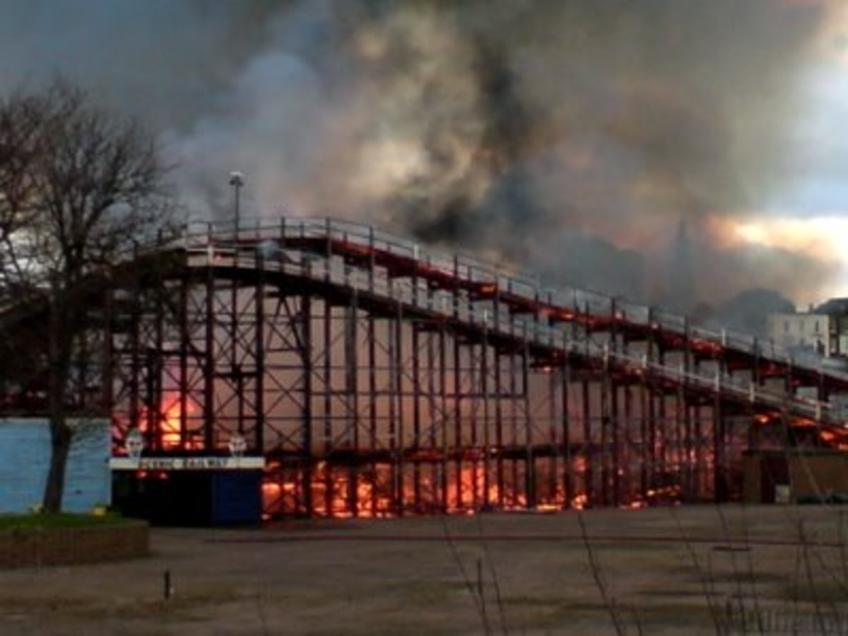 The Scenic Railway ride on fire.