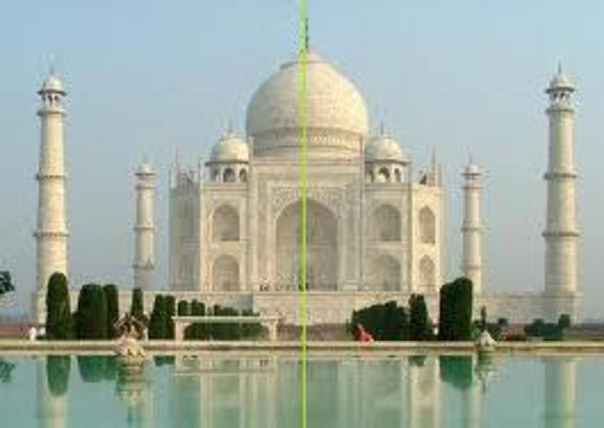 How do you find lines of reflective symmetry? (Taj Mahal India is a famous building with reflective symmetry)