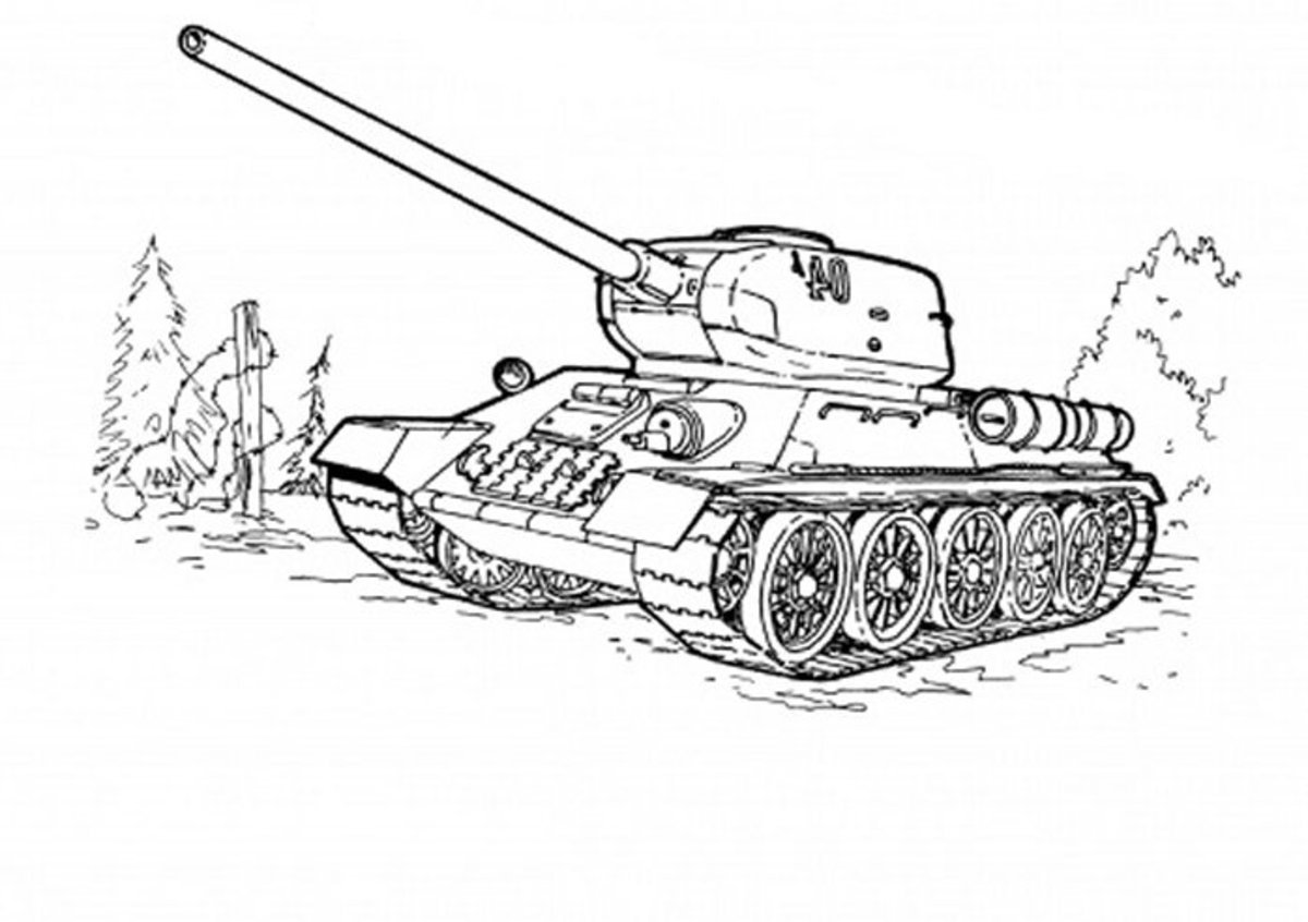 Army Tracked Vehicles Coloring Pages Free Colouring Pictures to Print - T-34 Tank