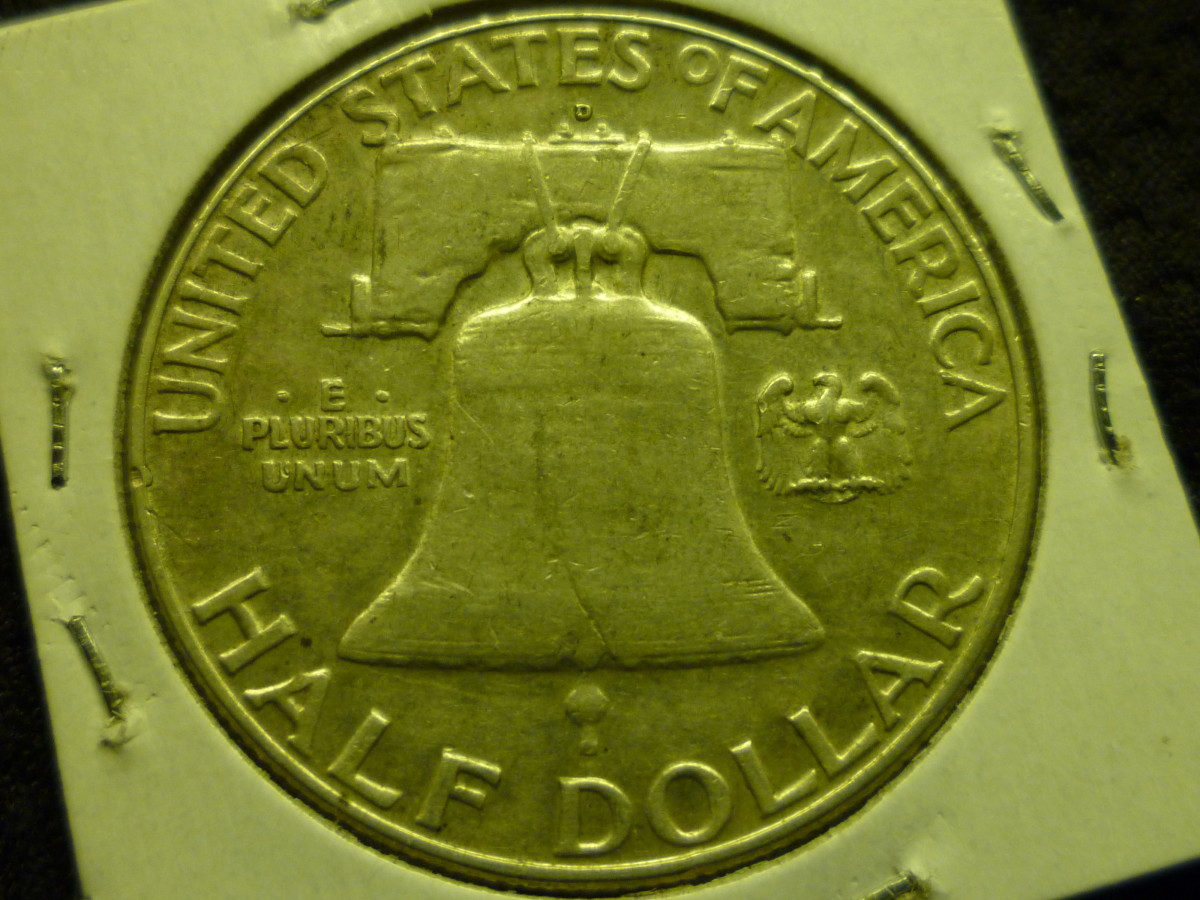 Franklin Half Dollar Reverse. Mintmark is placed above the Liberty Bell.