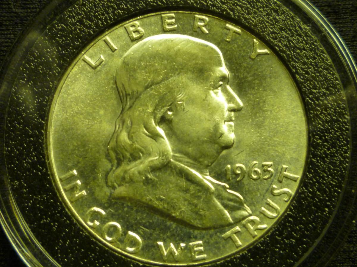 Value of Franklin Half Dollars. Shown above is 90% Silver 1963 Franklin Half Dollar.