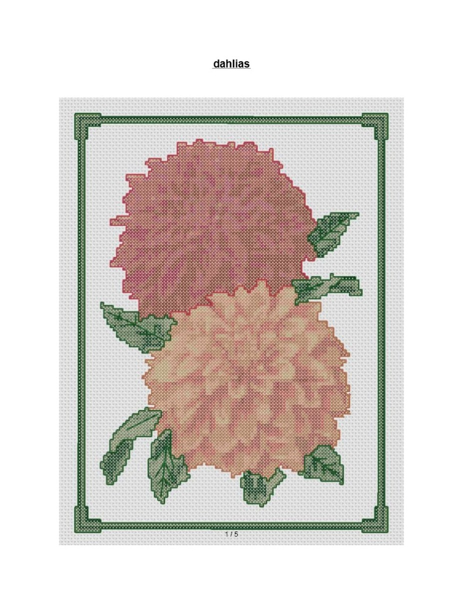 free cross stitch pattern Dahlias