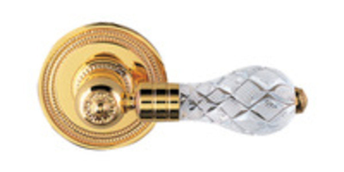 Door hardware cut crystal and brass French lever style