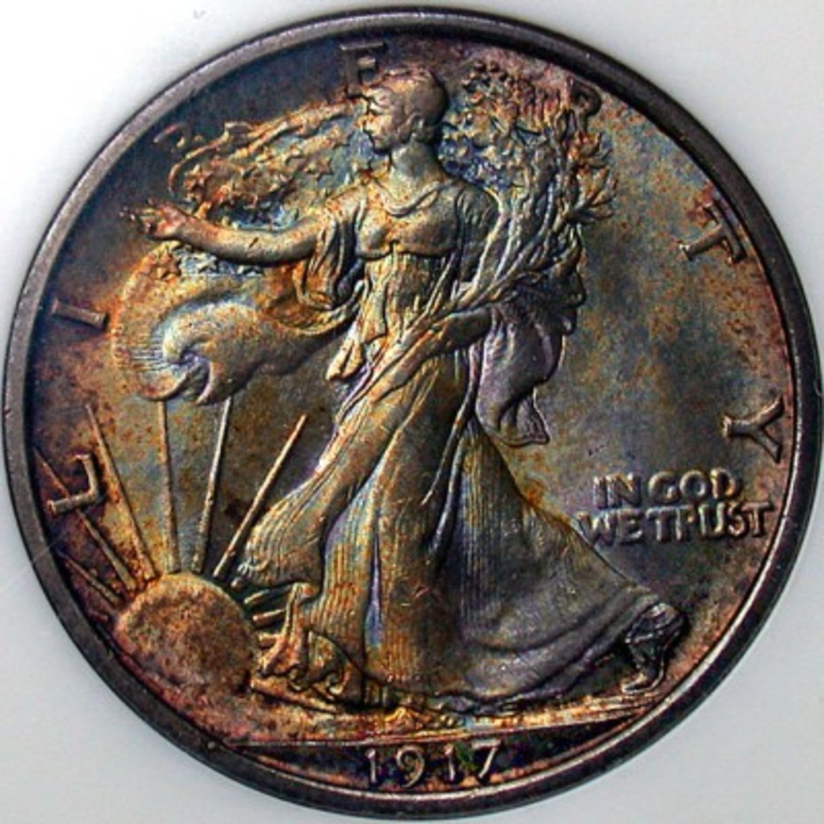 Value of Walking Liberty Half Dollar. Above is a toned Uncirculated 1917.