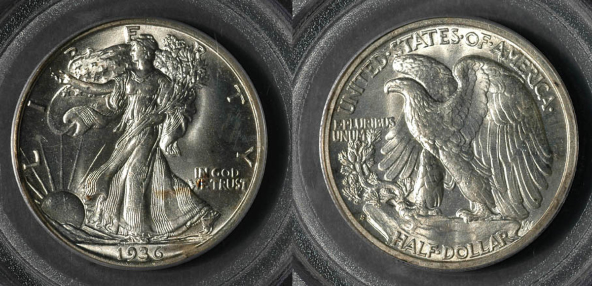 Obverse and Reverse of Walking Liberty Half Dollar Coin.