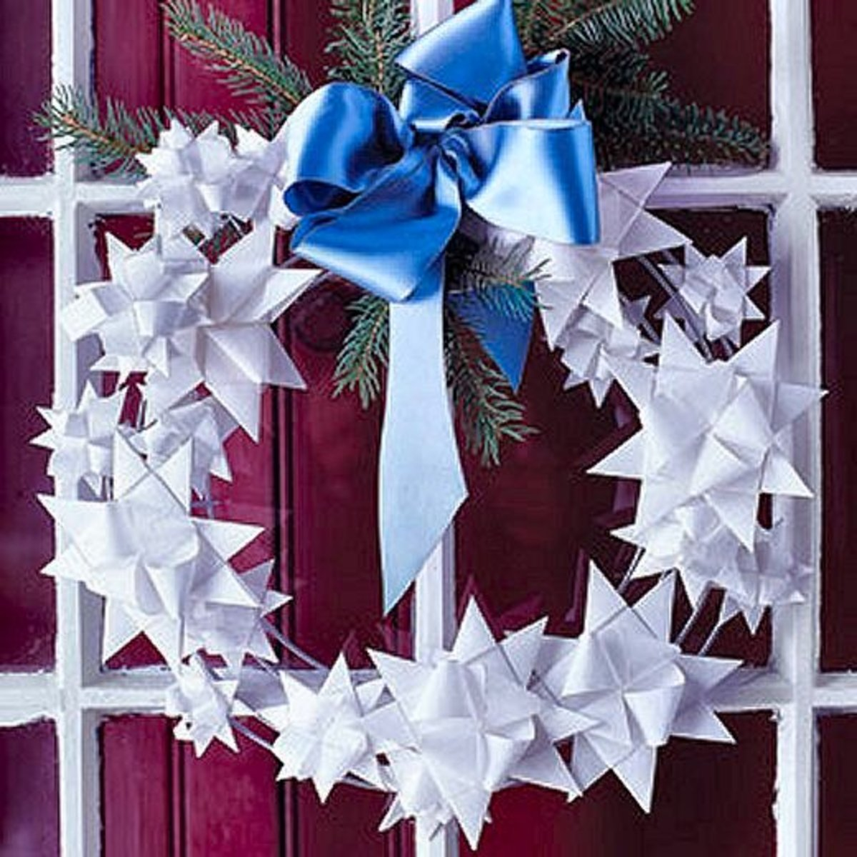 Origami star Christmas wreath.