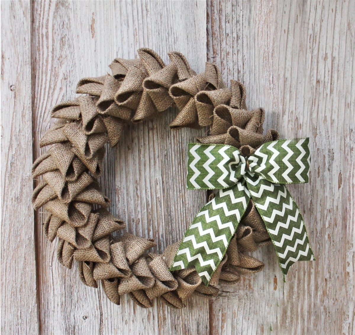 The combination of the burlap and the chevron pattern feels homey, slightly rustic and chic.