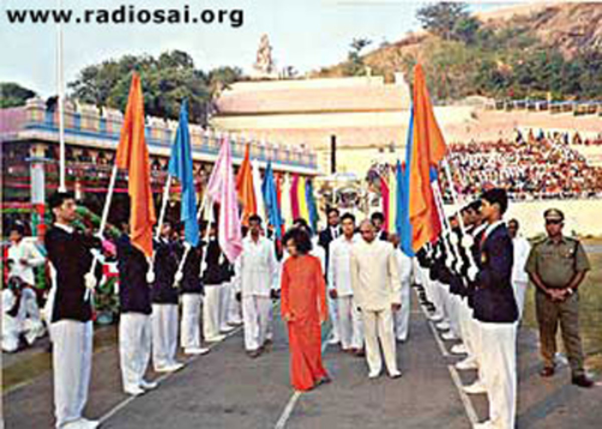 His students welcoming Him during the parade on the Annual Sports Meet