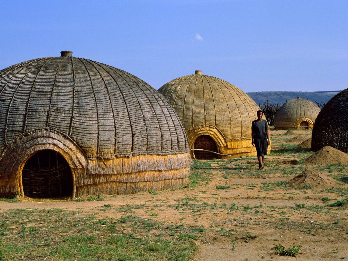 Zulu houses or huts in a beehive formation close-up