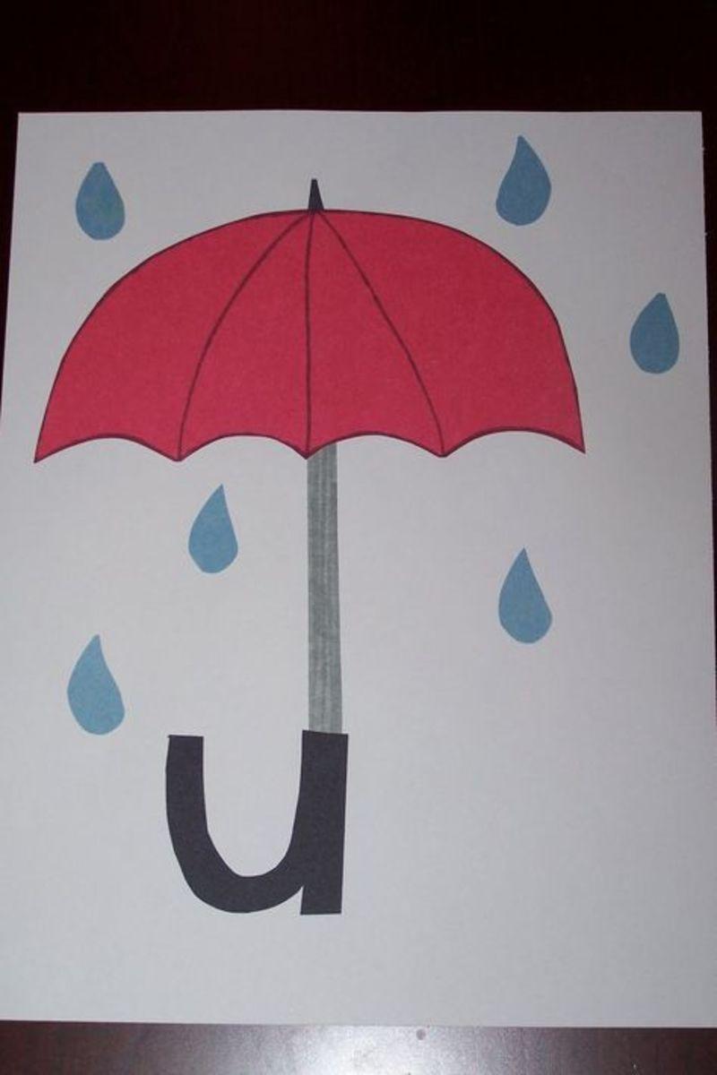 Those are giant raindrops that seem to go right through the umbrella.