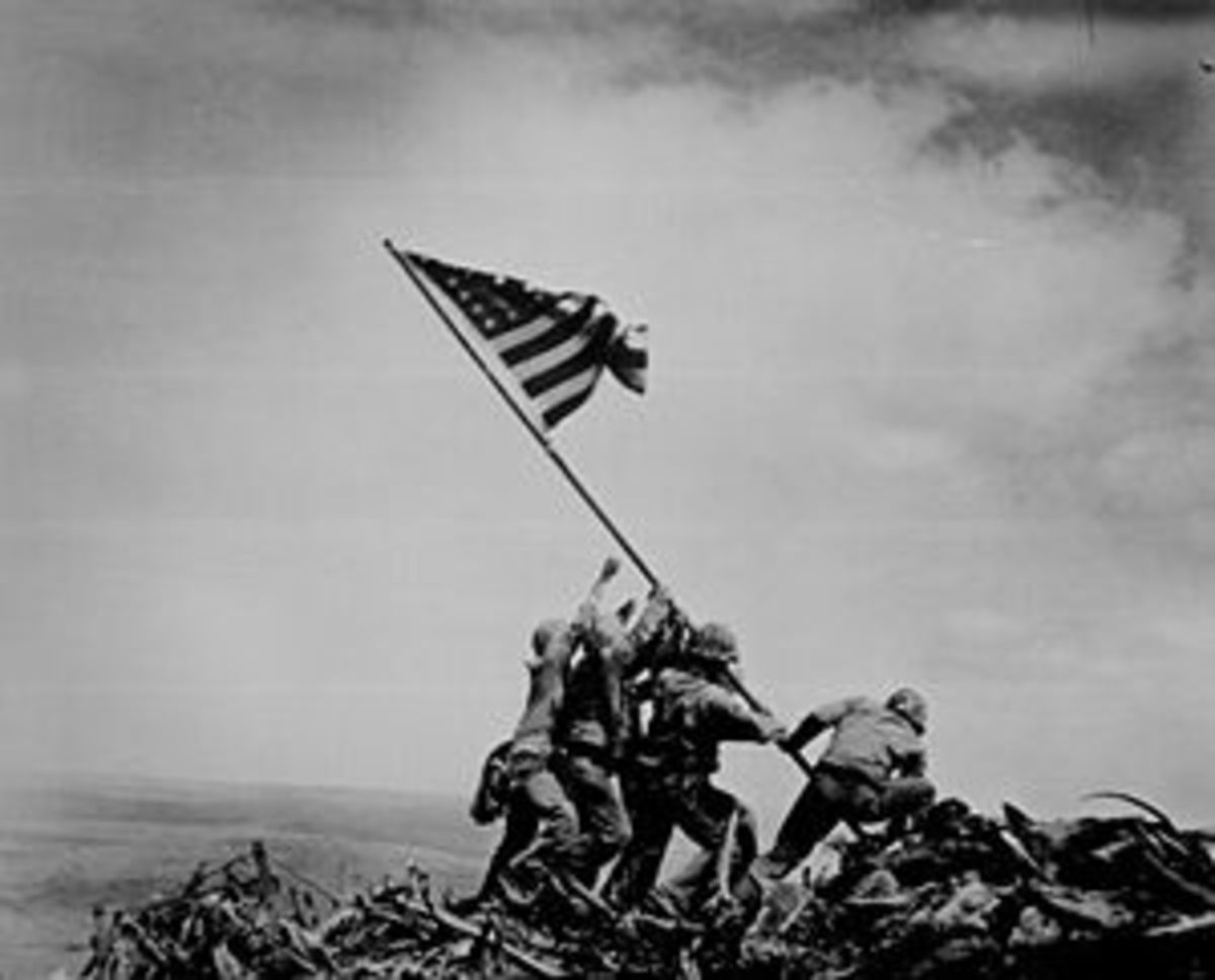 Famous photo by Joe Rosenthal (The Associated Press) of United States Marines raising the American flag on a hill on the island of Iwo Jima where another of my uncles, Richard Dropauer, also of Yonkers, N.Y., was wounded.