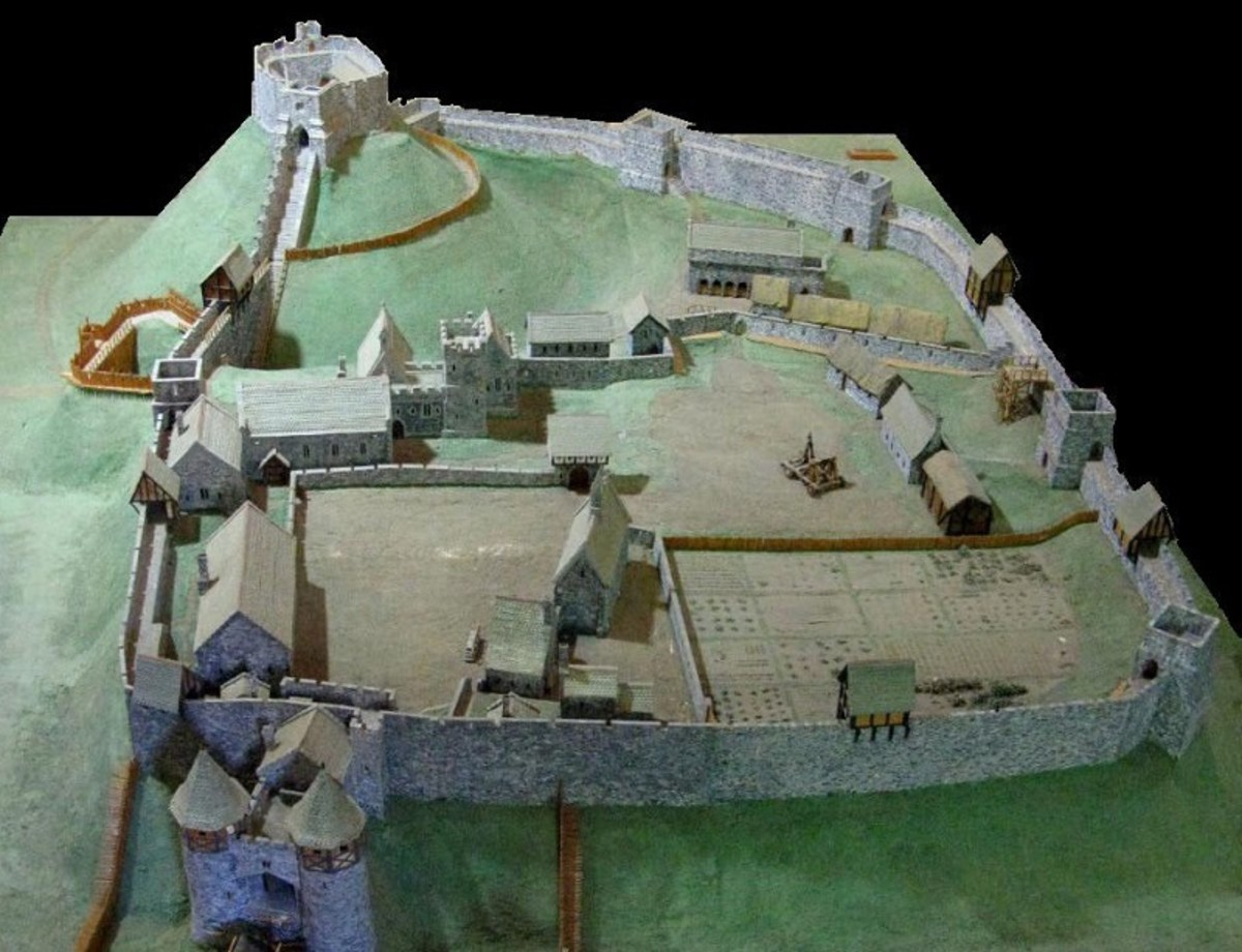 Scale model of Carisbrooke castle, built in the 14th century.
