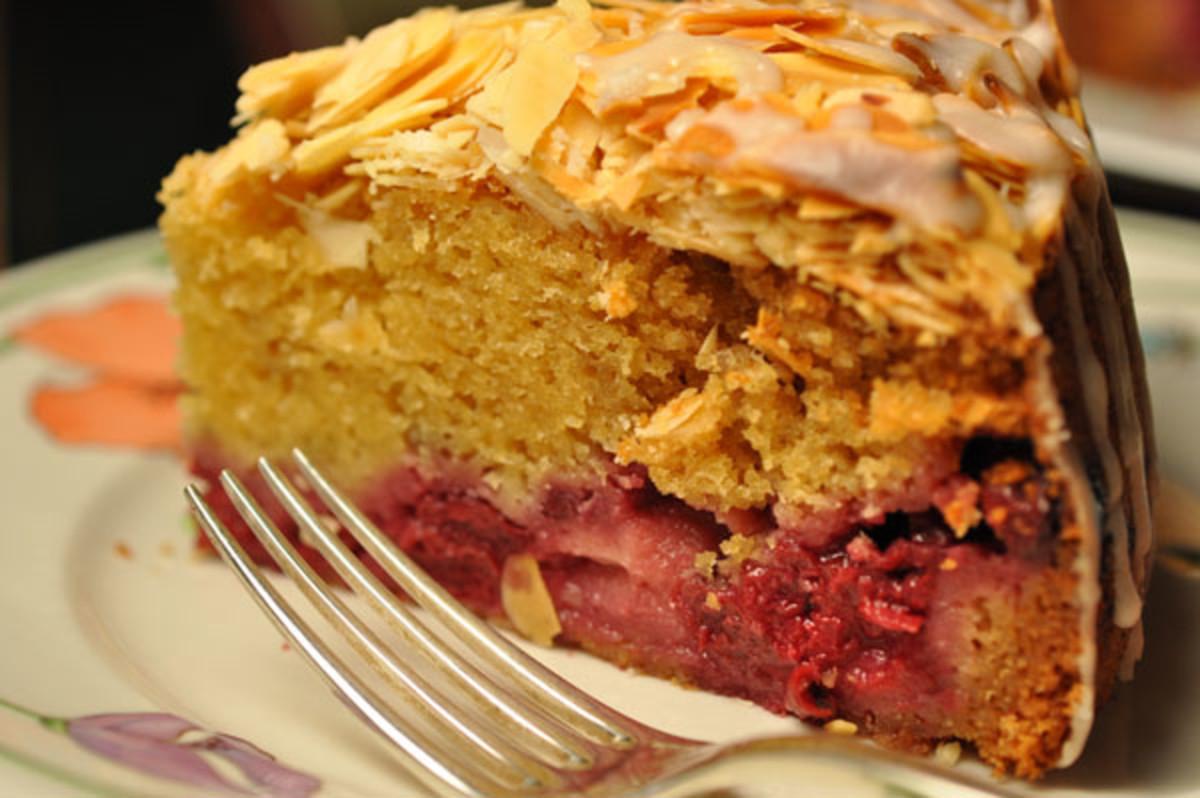 Slice of Sour Cherry & Almond Cake Image:  Siu Ling Hui