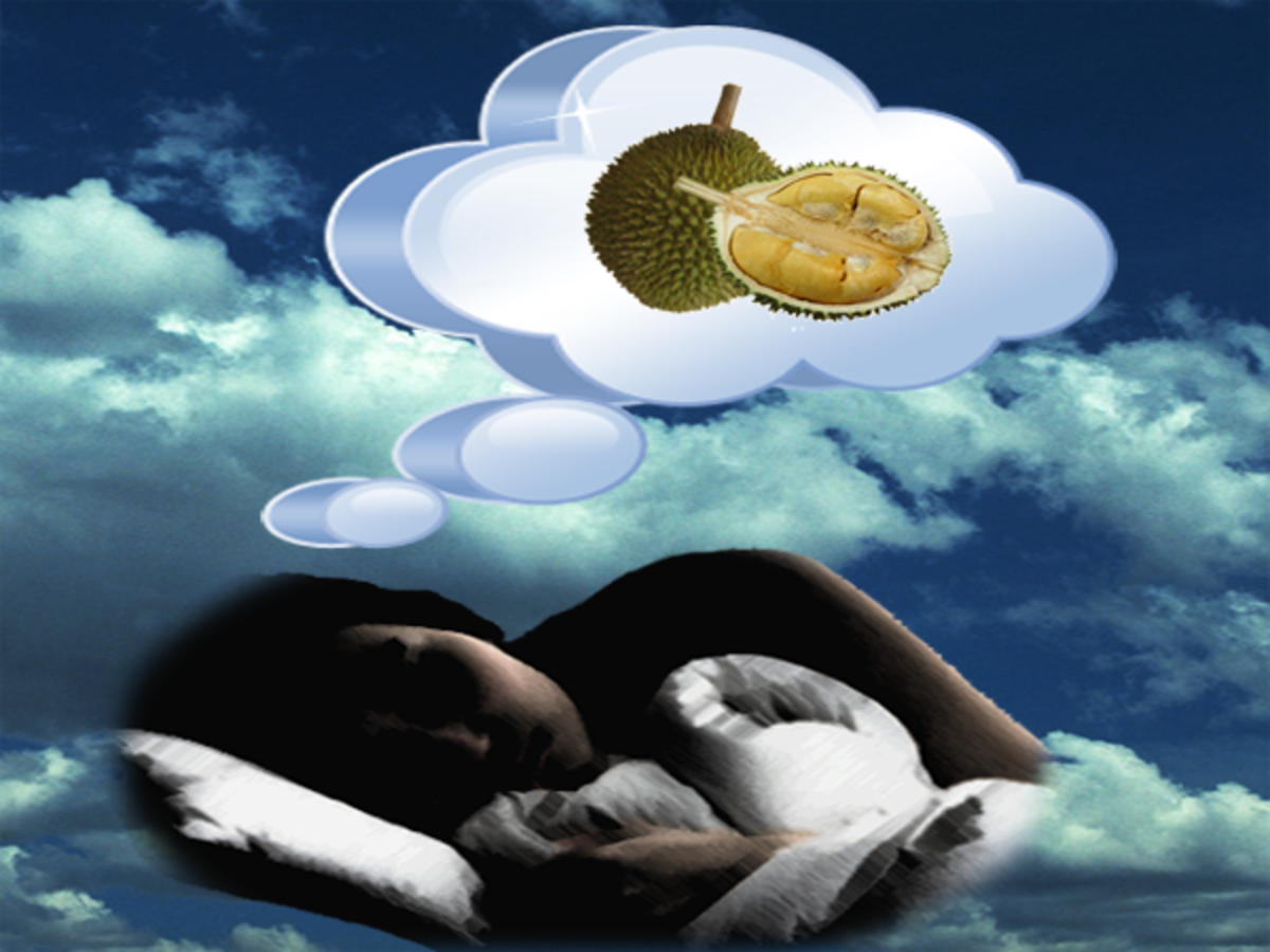 Dreaming of a durian or dreaming eating a durian has different contextual meaning than the actual act of eating a real durian