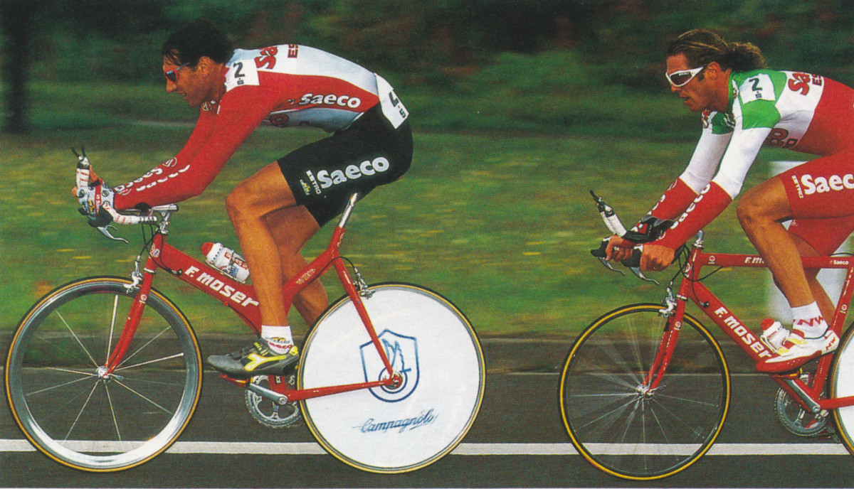 Mario Cipollini in Italian Champions Kit during the Team Time Trial- Tour de France 1996