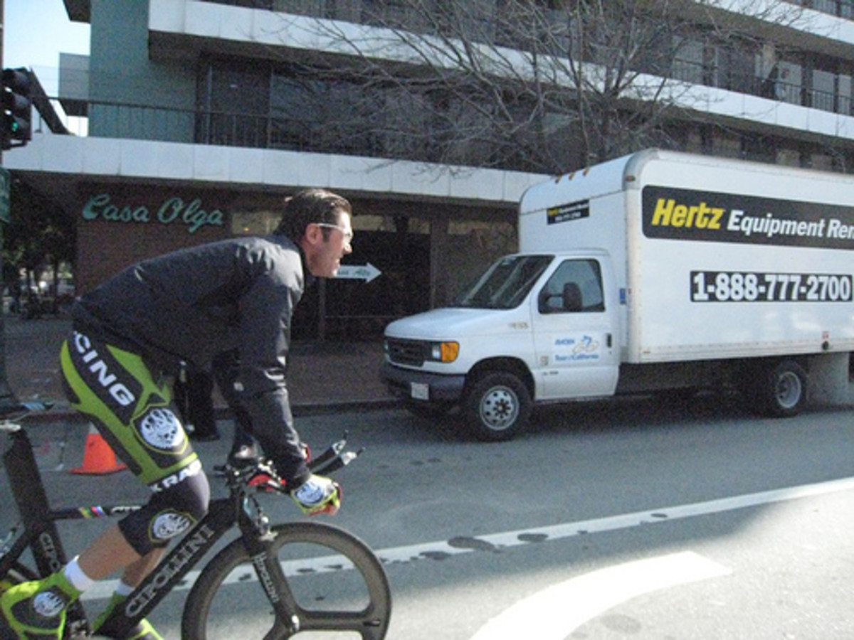 Cipollini Image; Rock Racing in the Tour of California warming up before the individual time trial