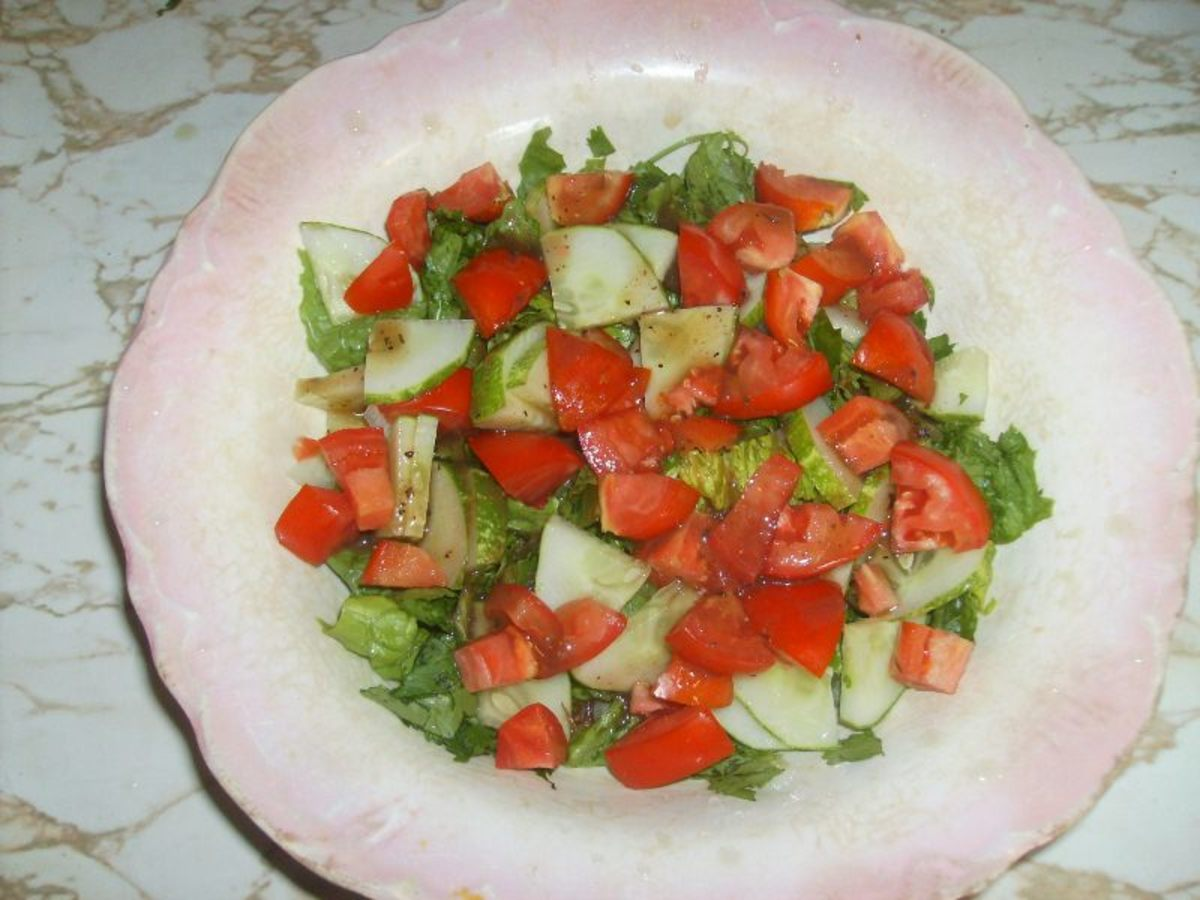 My summer creation shown here with a light balsamic vinaigrette dressing.