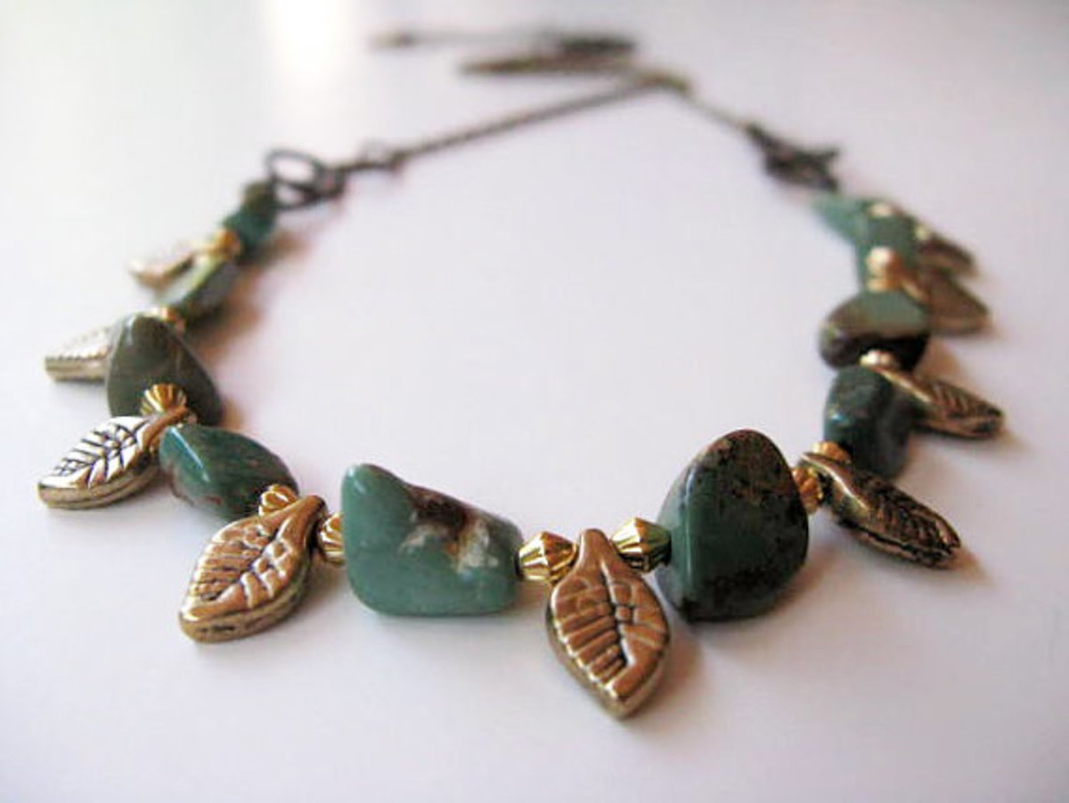 Pair leaf beads with gemstones, spacers, and/or glass beads to create a simple strung bracelet or necklace.