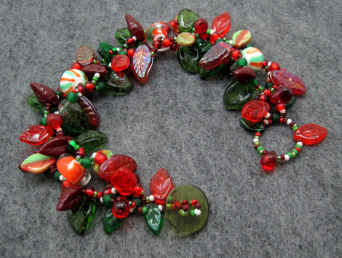 I love mixing different sized leaf beads with Czech glass rounds to create themed leafy bracelets, such as Christmas, fall, and winter.