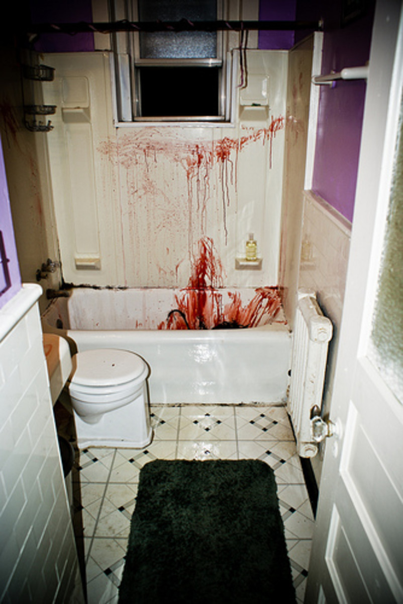 Red dye and fake bloody can make a bathtub look like a murder scene.