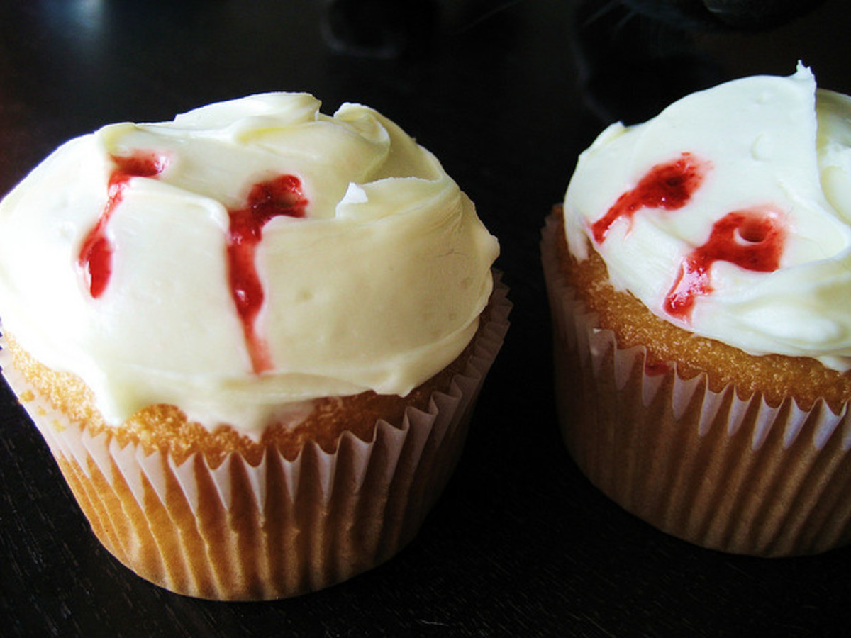 Vanilla Cupcakes filled with jelly with vampire bites! Perfect addition to any Bloody Menu.