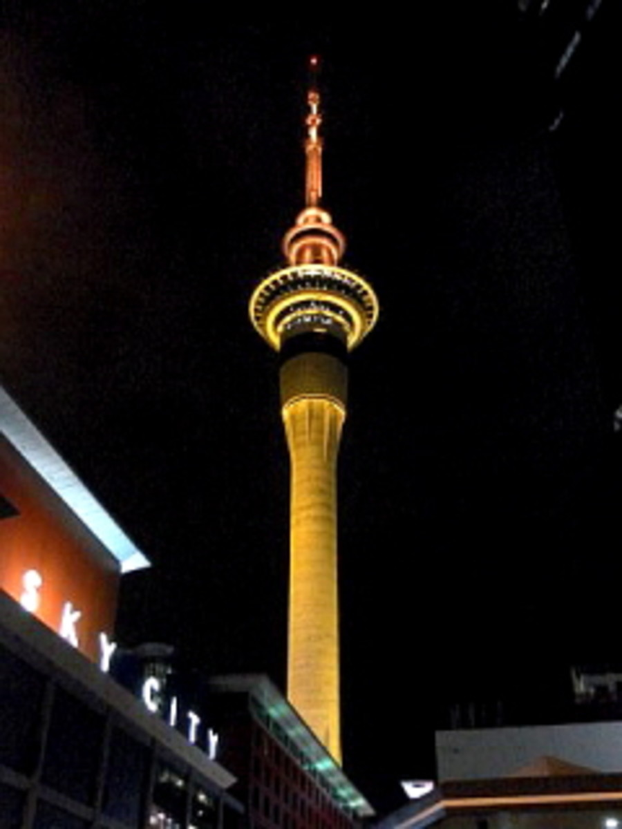 Sky Tower is all light up at night
