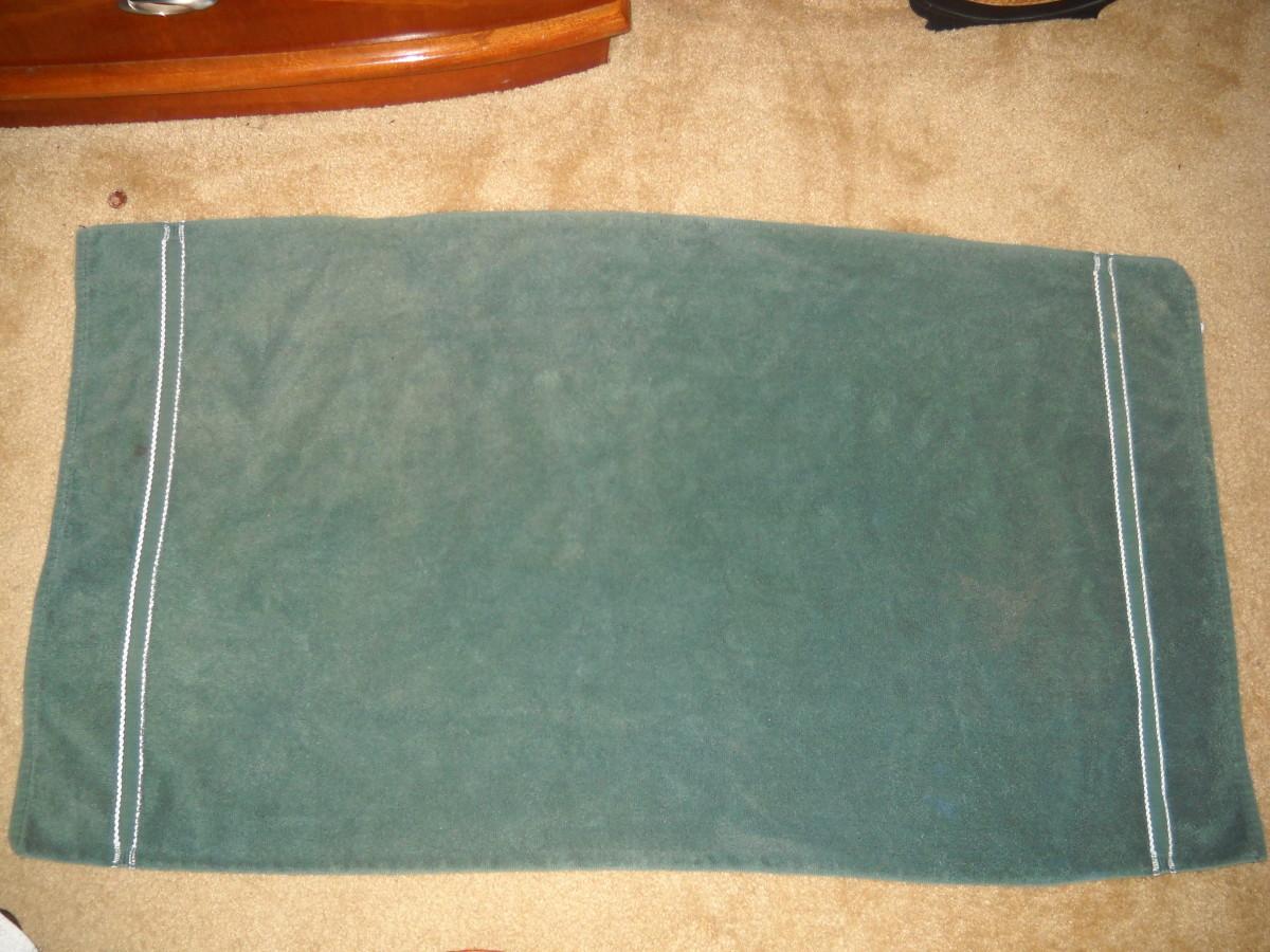 Towel laid flat.